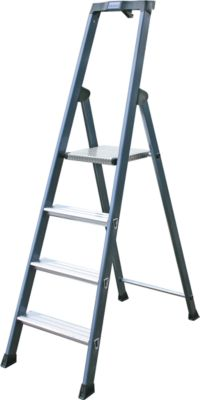 Stufenstehleiter, eloxiert, 4 Stufen