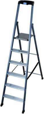 Stufenstehleiter, eloxiert, 6 Stufen