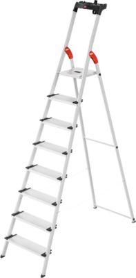 Stufenstehleiter Hailo L80, EN 131, mit Multifunktionsschale & XXL-Stufen, bis 150 kg, 8 Stufen