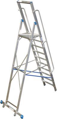 Stufenstehleiter, mit großer Plattform, Aluminium, mit 9 Stufen