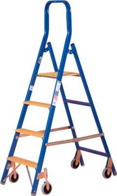 Stufenstehleiter Multicolor, einseitig besteigbar, 4 Stufen