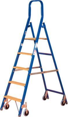 Stufenstehleiter Multicolor, einseitig besteigbar, 5 Stufen