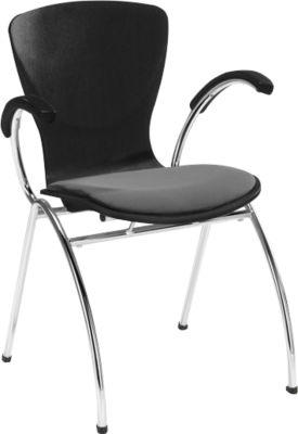 Stuhl Bingo, mit Sitzkissen, mit Armlehnen, schwarz/grau