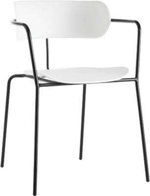 Stuhl BISTRO, Stahlrohr/PP, versch. Farben, B 535 x T 545 x H 760 mm, 4 Stück, weiss