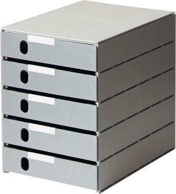 styro® Schubladenbox Styroval, 5 Schübe geschlossen, DIN C4, Polystyrol, grau