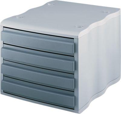 styro® Schubladenbox wave, 4 Schübe, Polystyrol, grau/grau