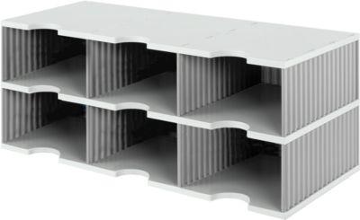 styro® Sortierstation styrodoc Jumbo, DIN C4, 2 Etagen/3-reihig/6 Fächer, grau