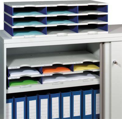styro® Sortierstation styrodoc Standard, DIN C4, 3 Etagen/3-reihig/9 Fächer, grau/blau