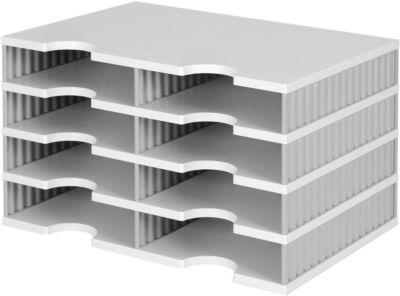 styro® Sortierstation styrodoc Standard, DIN C4, 4 Etagen/2-reihig/8 Fächer, grau/grau