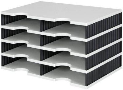 styro® Sortierstation styrodoc Standard, DIN C4, 4 Etagen/2-reihig/8 Fächer, grau/schwarz