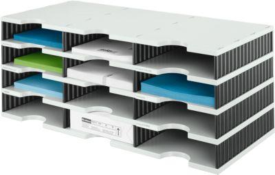styro® Sortierstation styrodoc Standard, DIN C4, 4 Etagen/3-reihig/12 Fächer, grau/schwarz