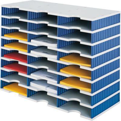 styro® Sortierstation styrodoc Standard SET, DIN C4, 8 Etagen/3-reihig/24 Fächer, grau/blau
