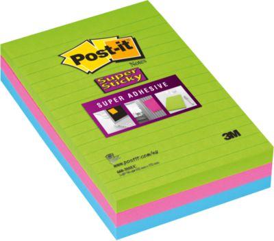 Super Sticky Notes, gelijnd, 101 x 152 mm, 90 memoblaadjes, pak van 3 blokken