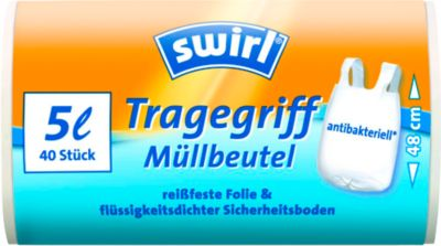 Swirl® vuilniszakken met handgrepen,5 liter, 40 stuks