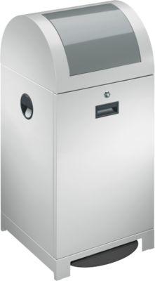 System-Wertstoffsammler, fußbetätigte Einwurfklappe, Inneneimer, staubgrau, 40 L