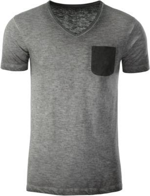 T-Shirt Herren MEN'S SLUB-T, 100% Bio-Baumwolle, Vintage-Look, V-Ausschnitt, graphite, Gr. XXL