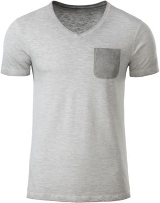 T-Shirt Herren MEN'S SLUB-T, 100% Bio-Baumwolle, Vintage-Look, V-Ausschnitt, light-grey, Gr. M