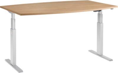 Table de réunion ERGO-T, pied-T, forme bateau, 2 sections de réglage électrique en hauteur, l. 2000 x H 645-1305 mm, merisier-Romana
