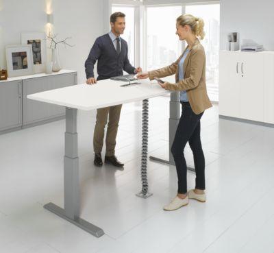 Table de réunion ERGO-T, pied-T, forme bateau, netbox, 2 sections de réglage électrique en hauteur, l. 200 x P 645-1305 mm, blanc