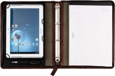 Tablet-PC Mappe A4 Echtleder, sniper braun