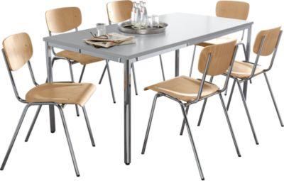 Tafel & 6 stapelstoelen, chroom