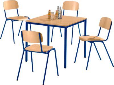 Tafel met 4 stapelbare stoelen, onderstel blauw