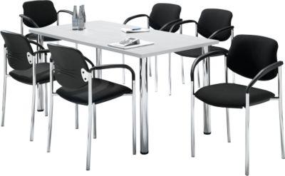 Tafel met 6 stoelen, lichtgrijs, 1600x800 mm