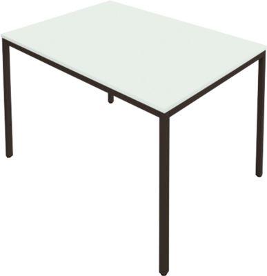 Tafel stalen buis, 1400 x 700 mm, lichtgrijs/zwart