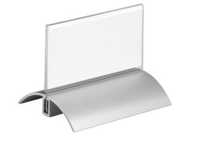 Tafelbordjes met aluminium voet, 52x100 mm, 2 st.