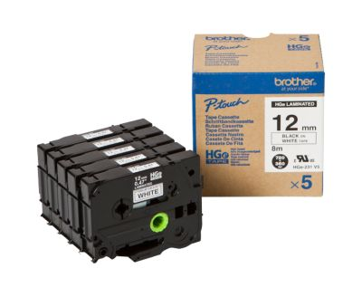 Tape HGe-231V5,12 mm,wit/zwart