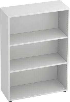 TARA open kast, voor aanbouwwand, 3 OH, b 800 x d 330 x h 1144 mm, lichtgrijs