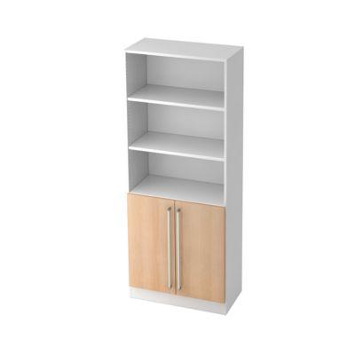 TARVIS boekenkast, 5 OH waarvan 2 OH achter 2 deuren met greep, B 800 x D 420 x H 2004 mm, wit/eikendecor