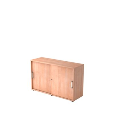 TARVIS schuifdeurkast, 2 OH, stapelbaar, b 1200 x d 400 x h 748 mm, notenhoutdecor