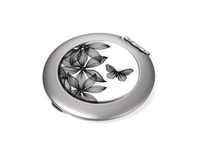 Taschenspiegel BLACK FLOWERS, rund, mit Dekor, Spiegel und Vergrößerungsspiegel
