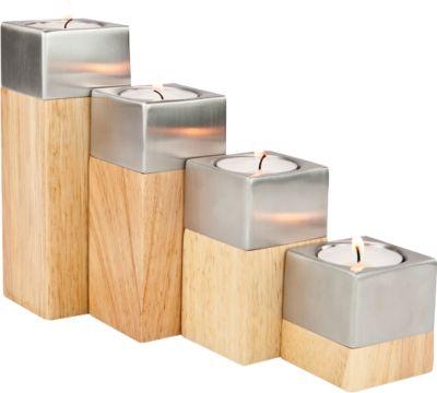 Teelichthalter Set Luce, 4-teilig, B 50 x T 50 x H 55-152 mm, Holz & Edelstahl