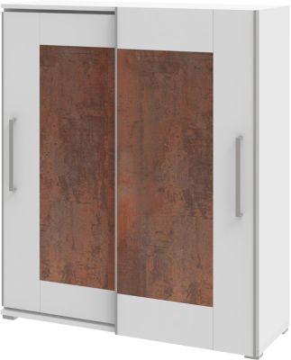 TEQSTYLE kast, 3 OH, b 1600 mm, 2 deuren met kader look, 3 vakken in OH, 1 vak in CD-hoogte, oxido/wit