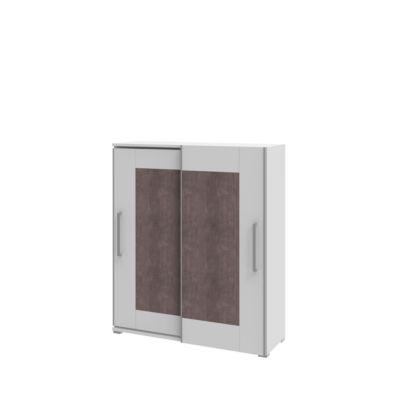 TEQSTYLE kast, 3 OH, b 1600 mm, 2 deuren met kader look, 3 vakken in OH, 1 vak in CD-hoogte, wit/kwartsiet