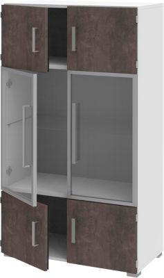 TEQSTYLE kast, 4 OH, 1 glazen legbord, b 800 x d 419 x h 1465 mm, wit/kwartsiet