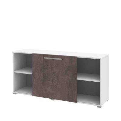 TEQSTYLE sideboard met schuiffront, b 1600 mm, wit/kwartsiet