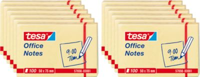 TESA Haftnotizen Office Notes, 50 mm x 75 mm, 4 x 3 x 100 Blatt, gelb