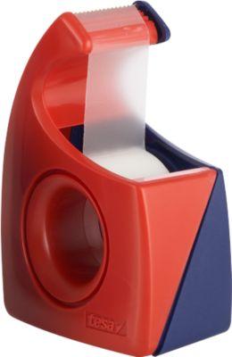 TESA Klebefilm-Handabroller Easy Cut, 10 m x 19 mm, rot/blau