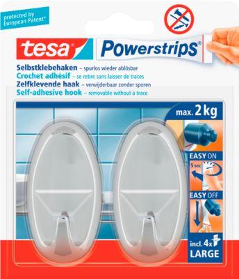 tesa® Powerstrips® enkele haak, PVC, ovaal, chroom, ref. tesa 58050, 2 kg