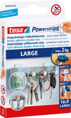 tesa® Powerstrips Large, 2 kg Haltekraft je Strip, 10 Stück