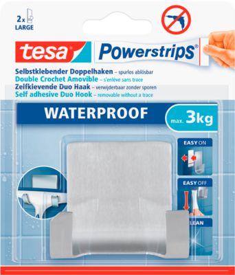 tesa® Powerstrips® waterdichte dubbele haak, metaal, voor natte ruimten, 3 kg maximum