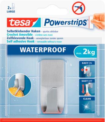 tesa Powerstrips Waterproof Haken Zoom, aus Edelstahl, für Feuchträume, max. 2 kg