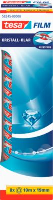tesafilm® plakband Crystal, 19 mm x 10 m, spaarpak van 8 rollen