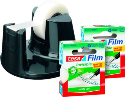 tesafilm® Tischabroller Easy Cut Compact + 3 Rollen Klebefilm matt-unsichtbar