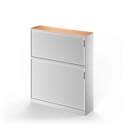 TETRIS SOLID combinatie opzetkast met roldeurkast, 5 OH, b 1600 x h 1905 mm, incl. 19 mm afdekblad, met middenwand, beukendecor/witalu/witalu