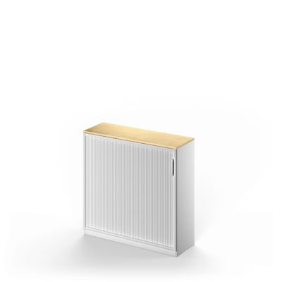 TETRIS SOLID roldeurkast, 3 OH, b 1200 x h 1170 mm, incl. 19 mm afdekblad, met legborden, ahorndecor/witalu/witalu
