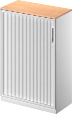 TETRIS SOLID roldeurkast, 3 OH, b 800 x h 1170 mm, met 2 legborden, incl. 19 mm afdekblad, beukendecor/witalu